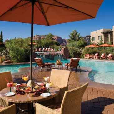 Our cascading pool is the perfect place to cool off on a hot day.