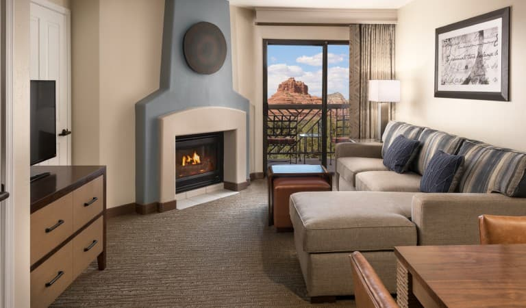 Our refurbished rooms offer views of the red rock landscape.
