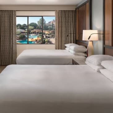 Our guest rooms offer two queen-sized beds.